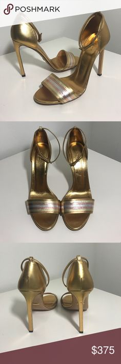 Gucci gold metallic sandal heels Gorgeous heels in gold metallic with light pink, yellow, silver stripes at front. Great price! Size 39. Normal wear and tear as seen in pics. Price firm unless bundled 108850. Gucci Shoes Heels