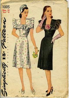 Vintage 40s Simplicity 1005 Square Neckline with by RomasMaison