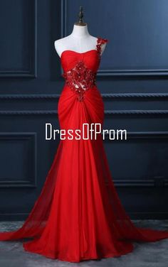 Trumpet Mermaid One Shoulder Chiffon Appliques Lace Beading Red Long Prom Dress