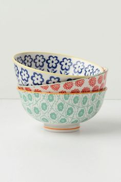 #Anthropologie #PinToWin I really want these bowls! So cute for colorful, casual dining. I love to mix & match!