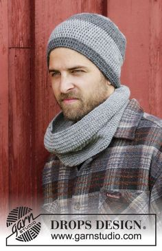 dfc1757b608 Dover - Set consists of  Crochet DROPS men s hat and neck warmer with  double crochet in Karisma. - Free pattern by DROPS Design