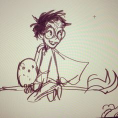 A tiny quick Harry Potter from the other day! I can't wait for summer so I can draw more fanart haha...ahhh  #HarryPotter #sketch #doodle by thedrawingduke