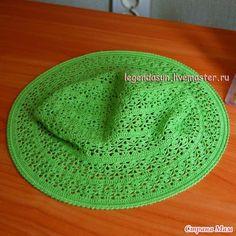 Explicación en fotos de confección de sombrero con ala tejido con ganchillo