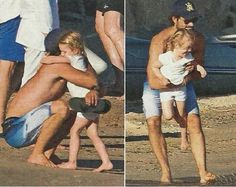 Princess Estelle of Sweden with her godfather Prince Carl Philip in France.