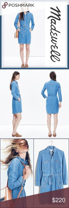 """NWT Madewell x Daryl K Cecelia Denim Shirtdress ➖NWT ➖BRAND: Madewell x Daryl k®  ➖SIZE: 0 ➖Approximately 37"""" long   ➖STYLE: Madewell and designer Daryl Kerrigan join forces to create this LIMITED EDITION (no longer available online or in stores) semi - retro belted denim shirt dress.  Features graphic zip pockets and a stand up collar.  ➖MATERIAL: Cotton / linen    ❌NO TRADE   219875 Madewell Dresses"""