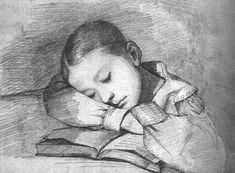 Courbet-Portrait of Juliette Courbet as a Sleeping Child   1841 (110 kB); Graphite on paper; Musee d'Orsay
