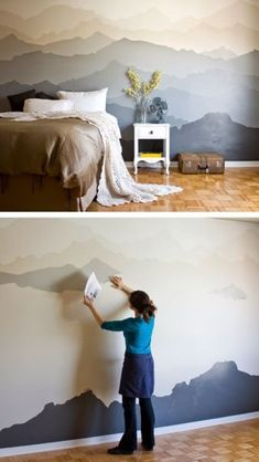 """The """"Mountain Mural"""" Bedroom Makeover 26 DIY Cool And No-Money Decorating Ideas for Your Wall – DIY mountain bedroom mural. The post The """"Mountain Mural"""" Bedroom Makeover appeared first on Decor Ideas. Bedroom Murals, Diy Bedroom Decor, Diy Home Decor, Decor Room, Bedroom Kids, Bedroom Wallpaper, Master Bedroom, Wallpaper Ideas, Blue Bedroom"""