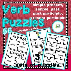 ESL /EAL / ELL / ELD /EFL Verb puzzles provide an interesting way to learn/ revise the different forms of irregular verbs. The puzzles are in three different sets.Set 1 (pictures showing the actions), simple present, simple past and past participle (18 verbs)Set 2 simple present, simple past and pas... Esl Resources, Teacher Resources, English Language Learners, Language Arts, Grammar Activities, Irregular Verbs, Elementary Schools, Elementary Teacher, Reading Comprehension