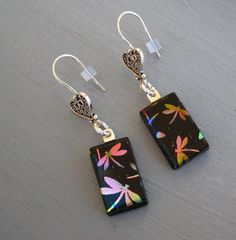 Dichroic Dragonfly Earrings Fused Glass Earrings by GlassCat, $27.00