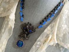 Rosary Assemblage Necklace  Fur Clip by 58Diamond on Etsy, $87.00