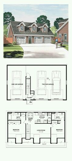 Who needs a house, with a garage like this, build it into a hill so the garage doors are ground level on one side and the living quarters are ground level on the other side... 3 Bedroom Garage Apartment, Garage Plans With Apartment, Garage With Apartment, 3 Car Garage Plans, 2 Bedroom House, Garage Ideas, Diy Bedroom, Garage Apartments, Bedroom Themes