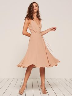 Temple sleeveless wrap dress pink Reformation