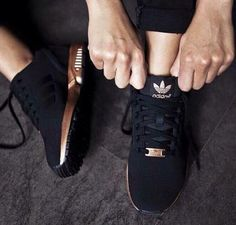 new product 2c953 df922 Adidas Women Shoes - adidas shoes running shoes black and gold zx flux  adidas shoes black rose gold,,I would definitely rock these bad boys.just  need to ...