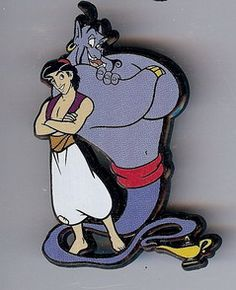 Disney Aladdin & the Genie Magic Lamp Pin/Pins, This pin of Aladdin & the Genie is very rare and very hard to find. To my knowledge Only a few of these came into the USA.
