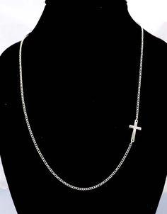 Sideways Cross Necklace in silver-Long Silver Necklace. $15,90, via Etsy.