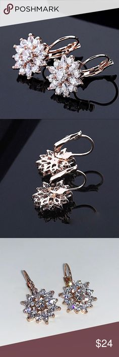 Rose Gold Plated Cubic Zirconia Flower EarringsNWT Rose Gold Plated Cubic Zirconia Flower Earrings NWT:  ultra sparkly, gorgeous! Jewelry Earrings