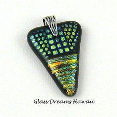 Dichroic Fused Glass Pendant-  Handmade SRA – Golds and Greens -  Arrow Shape - SRA - Etsy Teams
