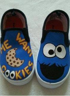 Cookie Monster Toddler Shoes Size 9 #Handmade