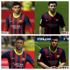 Messi and Neymar in PES14 and FIFA14, FIFA is far better. What you think?