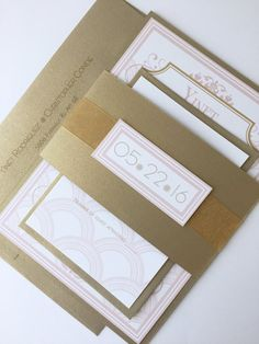 Art Deco wedding invitation set elegant wedding by alamodebride