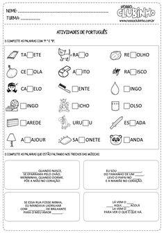 Atividades para alfabetização com a ortografia das palavras P e B