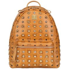 MCM Stark Medium Studded Backpack ($745) ❤ liked on Polyvore featuring bags, backpacks, backpack, mcm, accessories, tan, day pack backpack, leather daypack, studded leather backpack and tan leather backpack