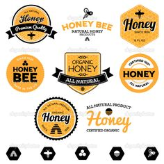 Set of honey and bee labels for honey products #design #vector #eps Download: http://depositphotos.com/11311450/stock-illustration-honey-labels.html?ref=5747528