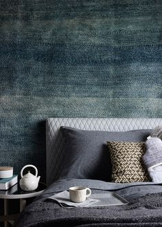 A Rug Makes An Unexpected And Warming Addition Behind The Bedhead Image Via