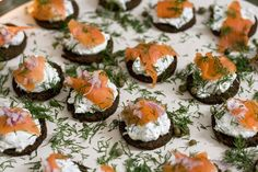 MADE: Smoked Salmon Appetizers. Mouth-Watering!  Smoked Salmon, 1/2C Cream Cheese, 1Tbs Dill Weed, 1/2 Chopped Red Onion, Pumpernickle Bread. Mix cream cheese, dill weed, & onion. Spread on bite size pieces of bread. Top with a slice of smoked salmon.