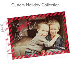 CUTE photo! Laughing kids make any card great. Font is beautiful. Christmas photo card idea.