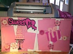 Sweet 16 12x12 Pre made Scrapbook Layout by Katy PageKits on Etsy, $12.99 Birthday Scrapbook Layouts, Scrapbooking Layouts, Sweet Sixteen, Scrapbooks, Sweet 16, Birthdays, Crafty, Cricut, Etsy