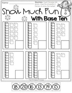 Base Ten - Click File, Print {and that's it}! A collection of FREE winter-themed print and go activities. Includes activities for reading, math, and writing. Kindergarten Activities, Teaching Math, Winter Activities, Base Ten Activities, Free Activities, Math Place Value, Math Numbers, Teen Numbers, Math Workshop