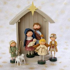 Decorate your home this Christmas with this fun Nativity scene designed by artist Lori Mitchell. - Set of 8 assorted pieces. - A Lori Mitchell Design. Christmas Figurines, Christmas Nativity, Christmas Art, Christmas Presents, Christmas Things, Christmas Bells, White Christmas, Xmas, Christmas Party Games