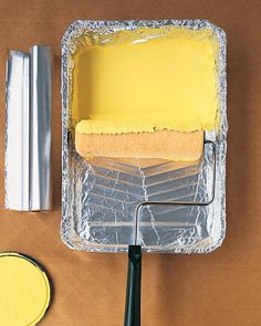 Aluminum foil covers the paint pan..toss after painting...Martha thinks of *everything*!
