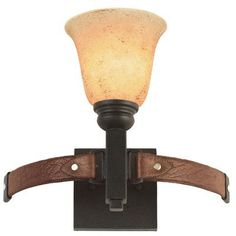 Kalco Rodeo Drive 1 Light Bath Sconce Finish: Black, Shade Type: Tall Faux Marble