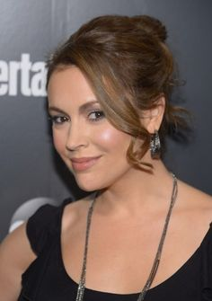 Updos:  Alyssa Milano Loose Bun Updo with Sexy Long Curls