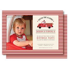 Vintage Fire Truck Photo Birthday Invitations by DelightPaperie, $20.00