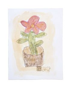 """Soojung Cho, a flower in pot, stick watercolor/graphite on paper, 11""""x8.5"""""""