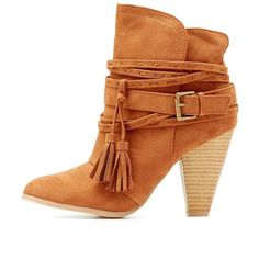 Qupid Buckled Tassel-Tie Booties ($47) ❤ liked on Polyvore featuring shoes, boots, ankle booties, rust, wrap boots, qupid boots, tie boots, chunky-heel boots and buckle booties