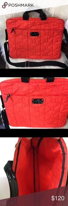 💥Make an offer💥Authentic Kate Spade bag Kate Spade New York signature spade quilted chad laptop bag. Red is a nice pop of color on this bag designed to carry a lap top but I've used as a messenger bag for travel. Has shoulder straps. It's in very good pre loved condition. Has normal (min) signs of wear. Refer to photos and please feel free to ask as many questions as needed. Reasonable offers are welcomed Kate Spade Bags Laptop Bags
