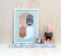 The Minimalist - The Minimalist Store / Materials in Hexagons / Mint / Print. Retro style, geometry
