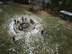 Drone shot of the firepit!