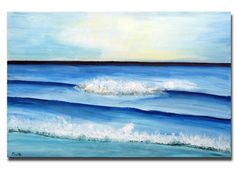 Blue Abstract Seascape Art Large Ocean Painting Beach Seas Soft Blue, Turquoise Art, 36x24 Mails Quickly, texture art