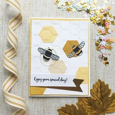 Happy Birthday Card. Hexagon. Bee Hive. Yellow Paper Greeting Card. Bee Themed Birthday. Enjoy Your Special Day! Celebration Card.