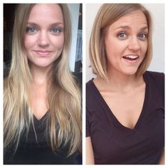 Before and after: Long straight hair to short bob