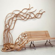 spaghetti-bench-outdoor-art-furniture, This would be fun to put in a small town in front of court house as a reminder of life trials. Art Furniture, Art Nouveau Furniture, Outdoor Furniture Design, Urban Furniture, Street Furniture, Unique Furniture, Cheap Furniture, Funky Furniture, Bespoke Furniture