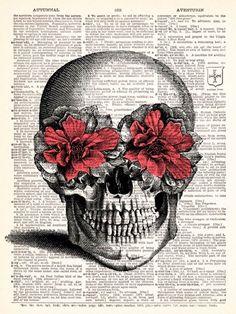 Pink Flower Skulls, im gunna draw this