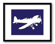 White Airplane Navy Blue Background Boys Kids by KidsNurseryArt, $2.00