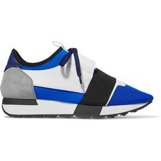 Balenciaga Race Runner leather, mesh and neoprene sneakers ($550) ❤ liked on Polyvore featuring shoes, sneakers, blue, balenciaga trainers, breathable sneakers, lace up shoes, lacing sneakers and balenciaga sneakers