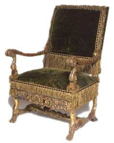 Louis XIV Chair, 1675. Carved and gilded walnut.